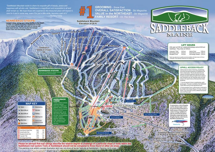 Saddleback Ski Resort Trail Map Maine Ski Resort Maps