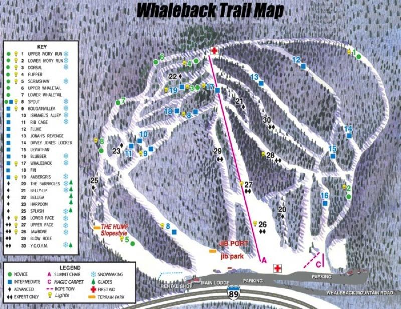 Whaleback Mtn Ski Area Trail Map